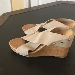 Madden Girl tan nude wedges size 9